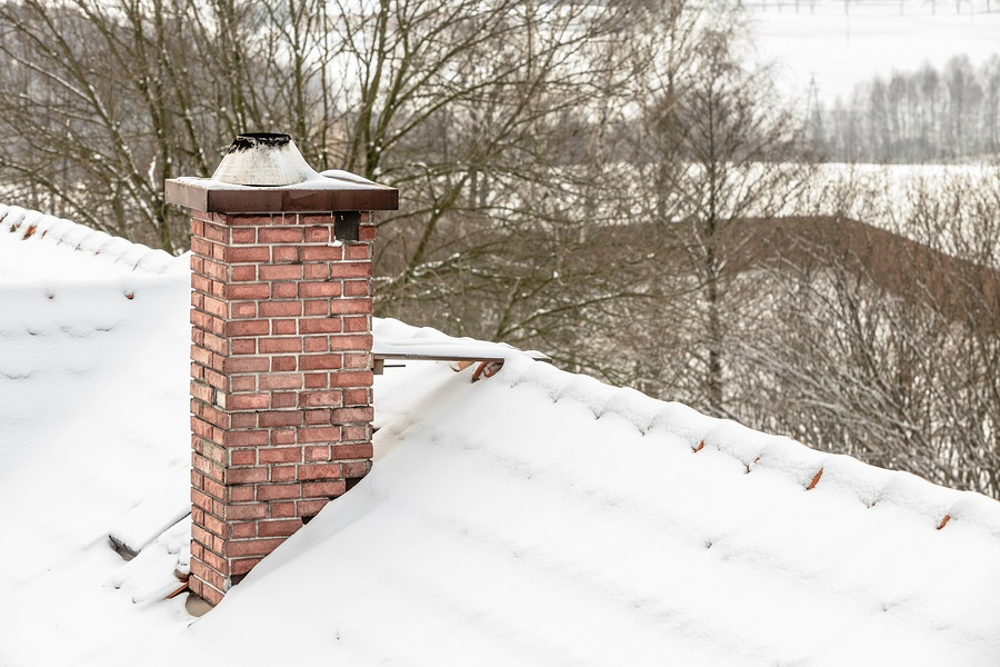 winter roof covered with snow
